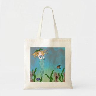 Mermaid and seal tote bag