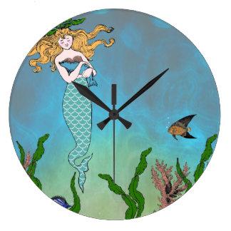 Mermaid and seal wallclock