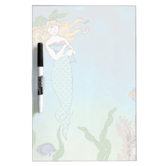 Mermaid and seal dry erase board