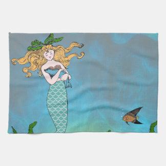 Mermaid and seal hand towel