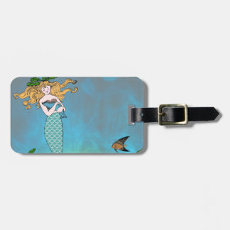Mermaid and seal luggage tag