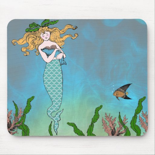 Mermaid and seal mouse pad
