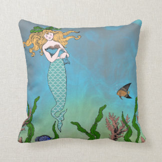 Mermaid and seal throw pillow