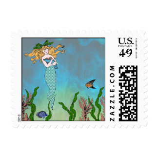 Mermaid and seal postage