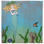 Mermaid and seal printed napkin