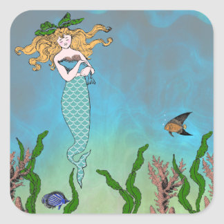 Mermaid and seal square sticker