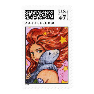 Mermaid and seal with stars postage