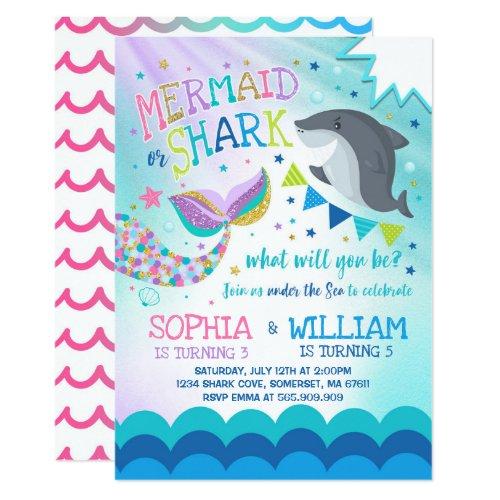 Mermaid And Shark Birthday Invitation Pool Party
