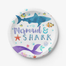 Mermaid and Shark birthday party paper plate