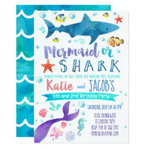 Mermaid and Shark Invitation Birthday Party Sea