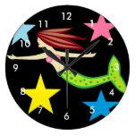 Mermaid And Stars Clocks
