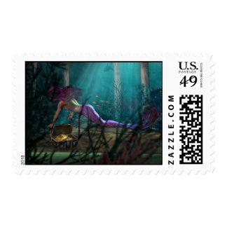 mermaid and sunken treasure postage stamps