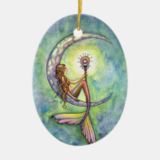 Mermaid and the Moon Fantasy Art Double-Sided Oval Ceramic Christmas Ornament