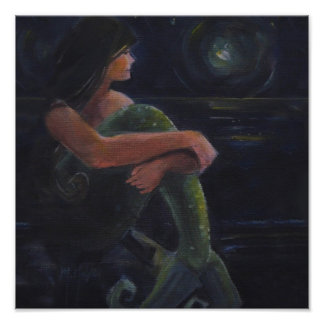 Mermaid and the Moon Print