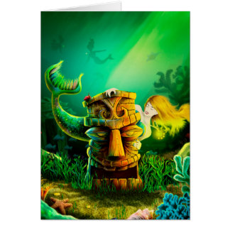 Mermaid and Tiki Greeting Card