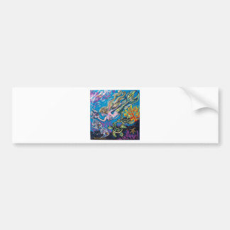 mermaid and turtle bumper sticker