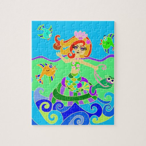 Mermaid and Turtle riding the waves Puzzles