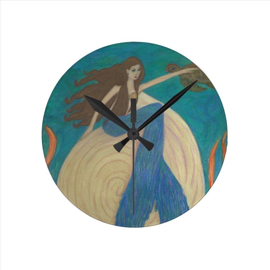 Mermaid and Turtle Wall Clock
