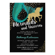 Mermaid and Unicorn Magical Birthday Invitation