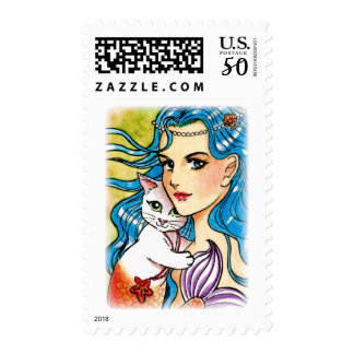 Mermaid and white mercat postage
