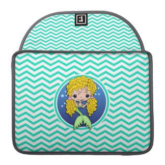 Mermaid; Aqua Green Chevron MacBook Pro Sleeve