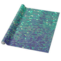 mermaid aqua sequin pattern wrapping paper