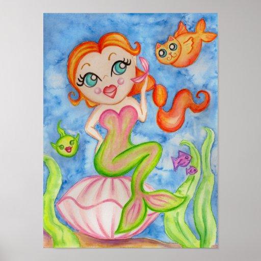 Mermaid Art Poster Print