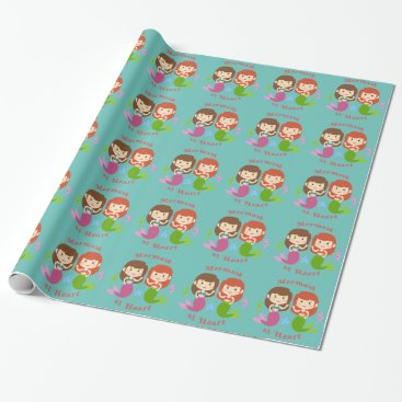 Valentines Themed Mermaid at Heart Wrapping Paper