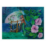 Mermaid at Moon Rise Acrylic Painting Poster