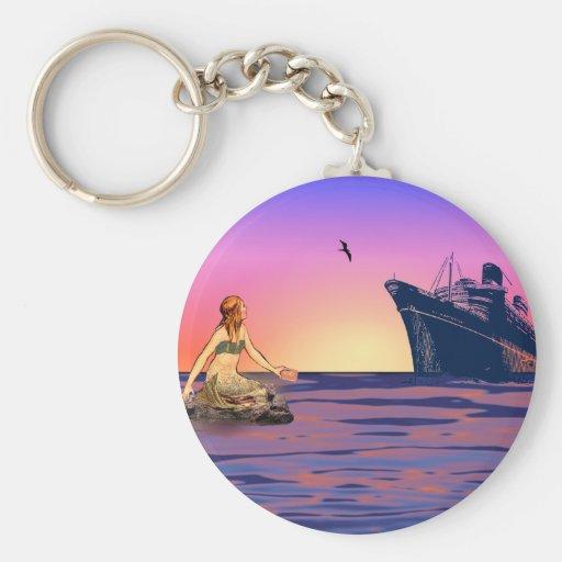 Mermaid at sunset key chain