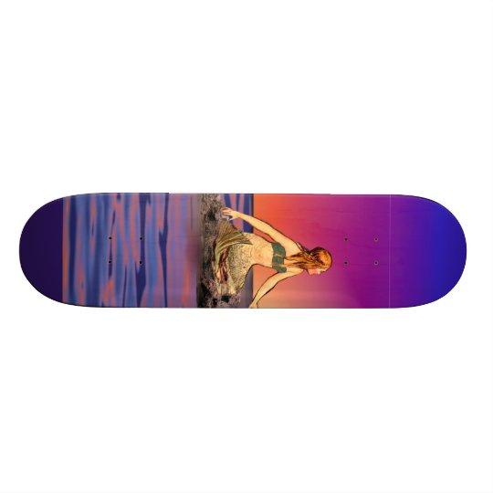 Mermaid at sunset skateboard deck