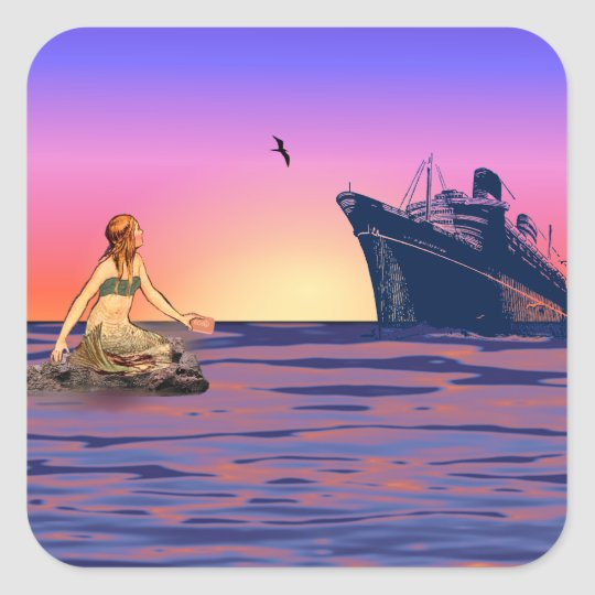 Mermaid at sunset square sticker