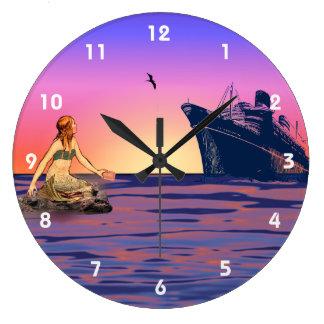 Mermaid at sunset wall clock