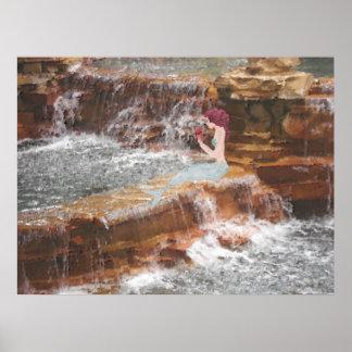 Mermaid at the Waterfall Poster