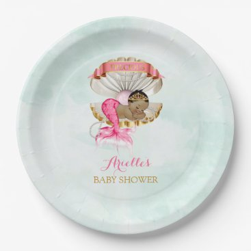 Toddler & Baby themed Mermaid Baby Clam Shell Tiara African American Paper Plate
