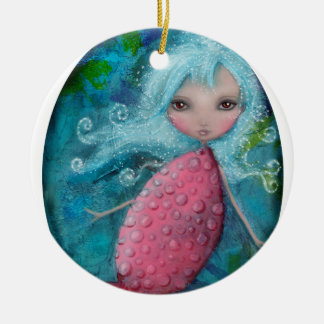 Mermaid Baby Double-Sided Ceramic Round Christmas Ornament