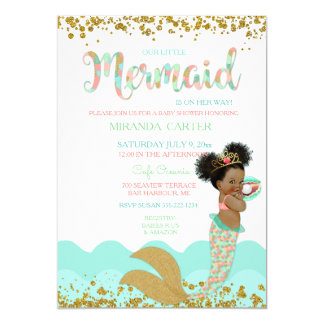 Mermaid Baby Girl African American Peach Mint Gold Card