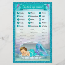 Mermaid Baby Shower Animal Match Game #130