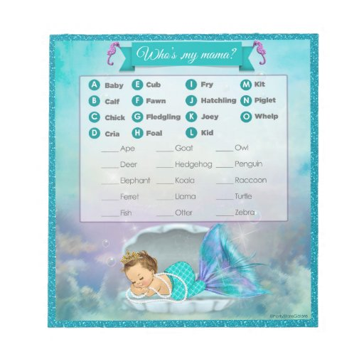Mermaid Baby Shower Animal Match Game 130 40sheets Note