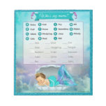 Mermaid Baby Shower Animal Match Game#130 40sheets Notepad