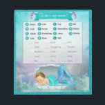 "Mermaid Baby Shower Animal Match Game#130 40sheets Notepad<br><div class=""desc"">Design Description An EXCLUSIVE original design by PartyStoreGalore. An adorable baby mermaid princess sleeping in her shell in a coral reef of beautiful shades of aqua blue/aquamarine and purple/lavender. Features a pretty glitter border. A perfect Under the Sea Baby Shower theme (Design# 130). Fun &amp; interesting game to add to...</div>"