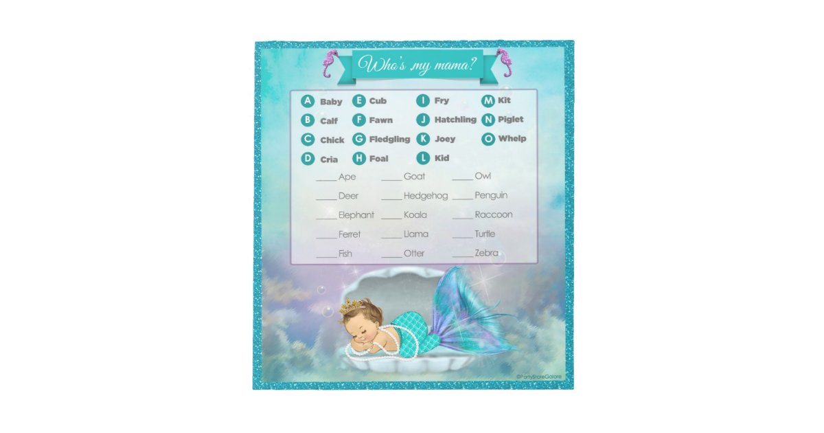 Mermaid Baby Shower Animal Match Game 130 40sheets Notepad