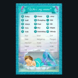 """Mermaid Baby Shower Animal Match Game #130 Flyer<br><div class=""""desc"""">Design Description An EXCLUSIVE original design by PartyStoreGalore. An adorable baby mermaid princess sleeping in her shell in a coral reef of beautiful shades of aqua blue/aquamarine and purple/lavender. Features a pretty glitter border. A perfect Under the Sea Baby Shower theme (Design# 130). Fun &amp; interesting game to add to...</div>"""