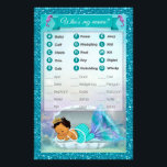"""Mermaid Baby Shower Animal Match Game #136 Medium Flyer<br><div class=""""desc"""">Design Description An EXCLUSIVE original design by PartyStoreGalore. An adorable baby mermaid princess sleeping in her shell in a coral reef of beautiful shades of aqua blue/aquamarine and purple/lavender. Features a pretty glitter border. A perfect Under the Sea Baby Shower theme (Design# 136 Medium skin-tone). Fun &amp; interesting game to...</div>"""