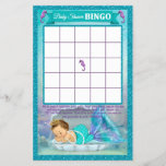 """Mermaid Baby Shower Bingo Game Card #130<br><div class=""""desc"""">Design Description An EXCLUSIVE original design by PartyStoreGalore. An adorable baby mermaid princess sleeping in her shell in a coral reef of beautiful shades of aqua blue/aquamarine and purple/lavender. Features a pretty glitter border. A perfect Under the Sea Baby Shower theme (Design# 130). Wonderful game to liven up the gift...</div>"""