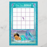 """Mermaid Baby Shower Bingo Game Card #136<br><div class=""""desc"""">Design Description An EXCLUSIVE original design by PartyStoreGalore. An adorable baby mermaid princess sleeping in her shell in a coral reef of beautiful shades of aqua blue/aquamarine and purple/lavender. Features a pretty glitter border. A perfect Under the Sea Baby Shower theme (Design# 136 Medium skin-tone). Wonderful game to liven up...</div>"""