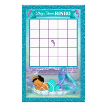 Mermaid Baby Shower Bingo Game Card #136