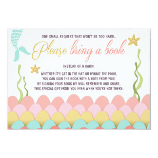 Mermaid Baby Shower Bring a book Girl Coral Gold Card