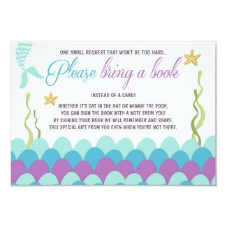 Mermaid Baby Shower Bring a book Purple Gold Card