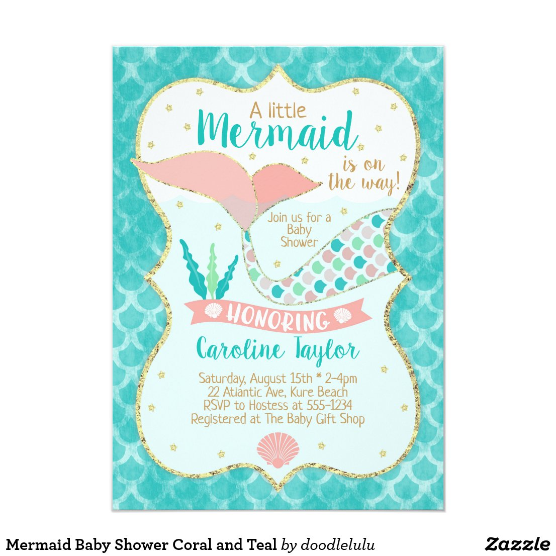 Mermaid Baby Shower Coral and Teal Invitation